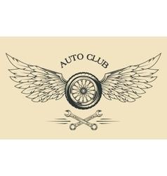 Wheels and wings vintage emblem vector image