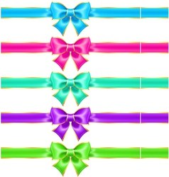 Bright holiday bows with gold border and ribbons vector image vector image