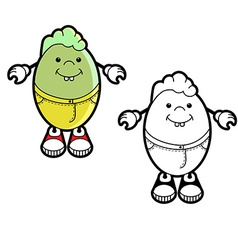Cartoon character of egg vector image vector image