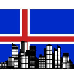 City and flag of Iceland vector image vector image