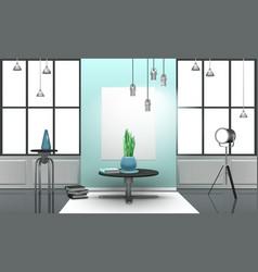 realistic loft interior in light tones vector image vector image