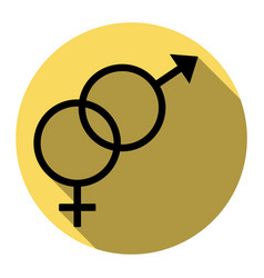sex symbol sign flat black icon with flat vector image