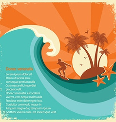 Surfer and sea big wave tropical island on old vector image vector image