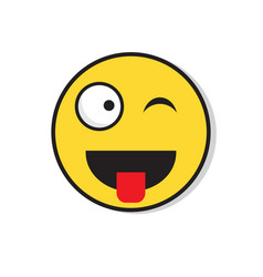yellow smiling face wink positive people emotion vector image