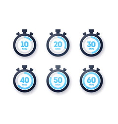 10 - 60 minutes stopwatch icon collection vector
