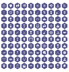 100 trophy and awards icons hexagon purple vector