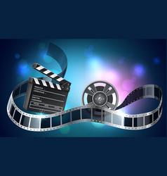 3d film reel or bobbin with filmstripe vector image