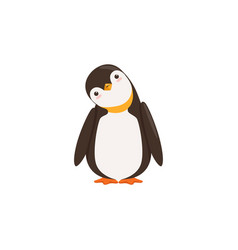 A funny penguin toon is tilting his heard with vector