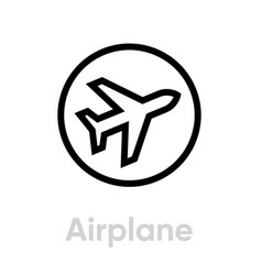 airplane icon editable line vector image
