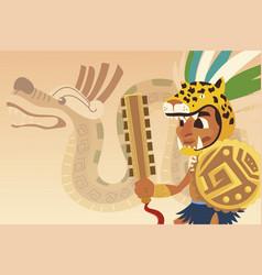 Aztec warrior tiger headgear shield vector