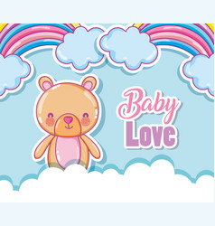 baby love cartoon rainbows vector image