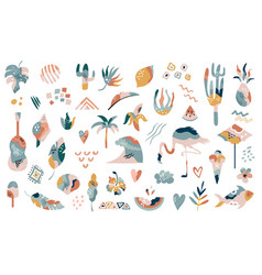 Big collection hand drawn summer boho elements vector