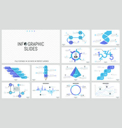 big set minimal infographic design templates vector image