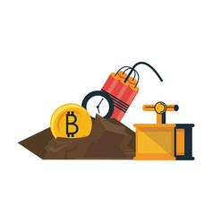 Bitcoin mining with detonator and tnt vector