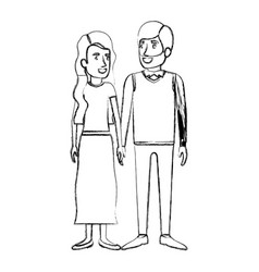 Blurred silhouette of man and woman standing and vector