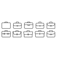briefcase icon set of different brifecase shape vector image
