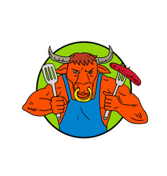 bull holding barbecue sausage drawing color vector image