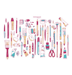 Bundle hand drawn stationery or writing vector