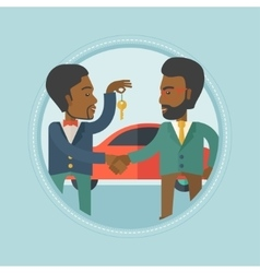 Car salesman giving key to new owner vector image