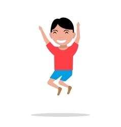 cartoon boy jumping happiness vector image
