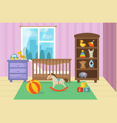 Cartoon childrens room interior with kid toys vector