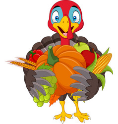 cartoon turkey holding fruits and vegetables vector image