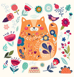 Cat in flowers vector