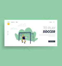 child football player engage sport website landing vector image