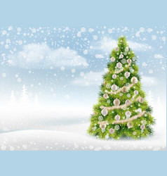 christmas tree on background winter landscape vector image