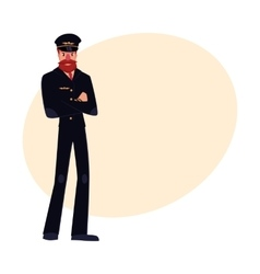 Civil airline pilot with beard and whiskers vector image