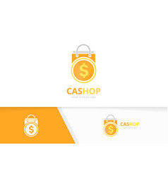 coin and shop logo combination money and vector image