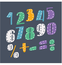 collection digits on dark bakcground vector image