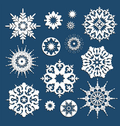 collection of white christmas snowflakes in vector image
