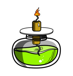 color sketch of spirit lamp chemical burner vector image