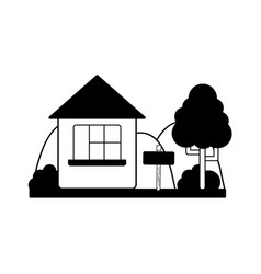 Contour home with design next to tree vector