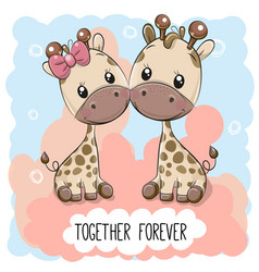 cute cartoon giraffes boy and girl vector image