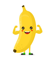 Cute happy strong smiling banana show muscle vector