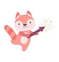 Cute red cat with a party popper lovely cartoon vector