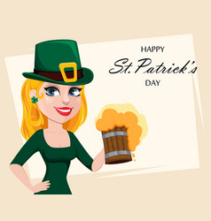 cute woman in costume of leprechaun vector image