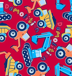 Demolition vehicles seamless pattern vector image
