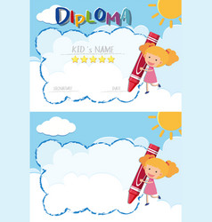 Diploma and border template with girl and red vector