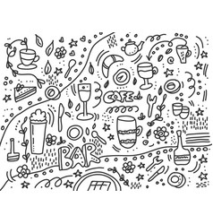 doodle bar background for menu vector image