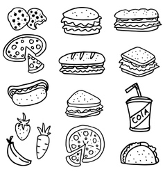 Doodle of food bread pizza and drink vector image