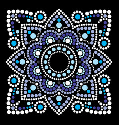 Dot art ethnic mandala in square vector