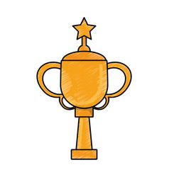 drawing winner cup star trophy vector image