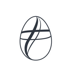 Easter egg icon black egg sign isolated white vector