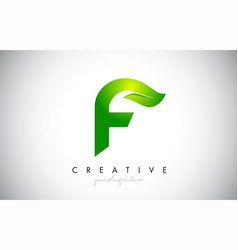 f leaf letter logo icon design in green colors vector image