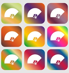 Fan icon Nine buttons with bright gradients for vector