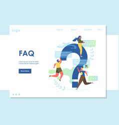 Faq website landing page design template vector