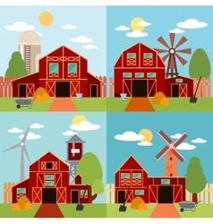 farm in village flat landscape natural vector image